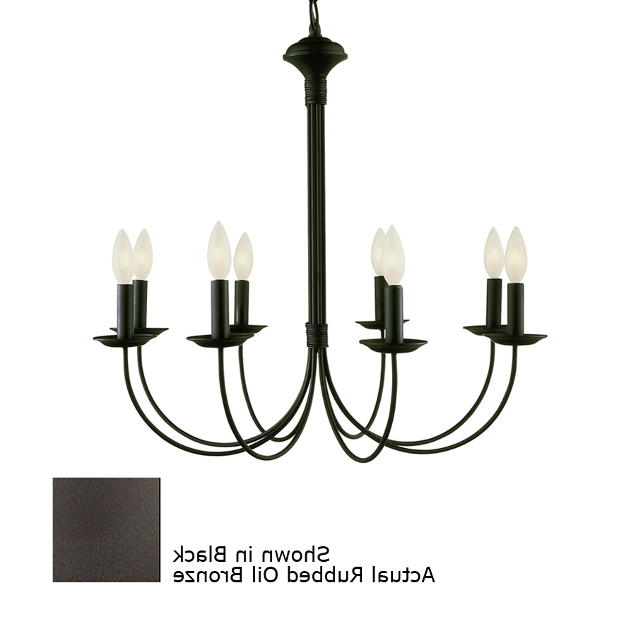 Large Black Chandelier Within Best And Newest Shop Portfolio New Century 8 Light Black Chandelier At Lowes (View 14 of 20)