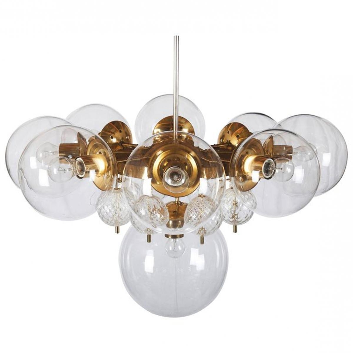 Large Brass Chandelier With Crystal Globes From Kamenicky Senov In Preferred Large Brass Chandelier (View 8 of 20)