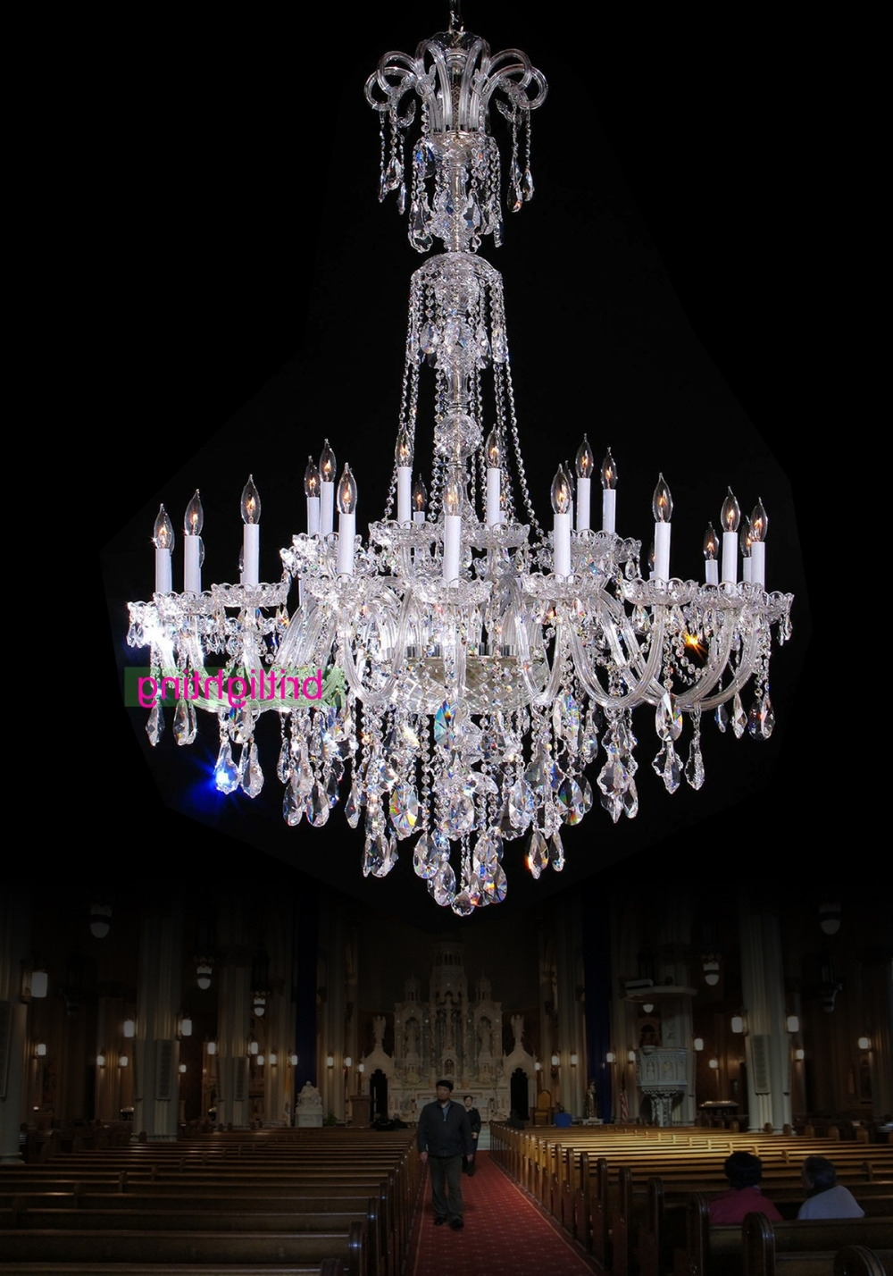 Large Chandelier With Crystal Pendants Big Lamp For Hotel Extra Throughout Popular Large Chandeliers (View 11 of 20)