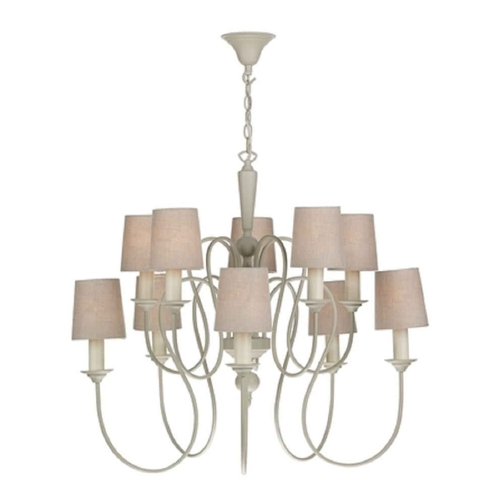 Large Cream Chandelier Throughout Trendy Large Edwardian Cream Painted Chandelier, 10 Candle Light With Shades (View 3 of 20)