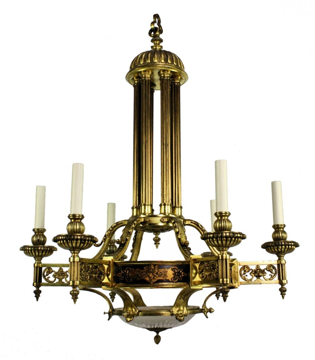 Large French Empire Gilt Bronze Chandelier, 1860S For Sale At Pamono Inside Most Up To Date French Bronze Chandelier (View 12 of 20)