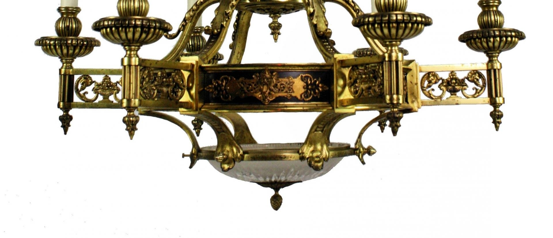 Large French Empire Gilt Bronze Chandelier, 1860S For Sale At Pamono Pertaining To Most Popular Large Bronze Chandelier (View 12 of 20)