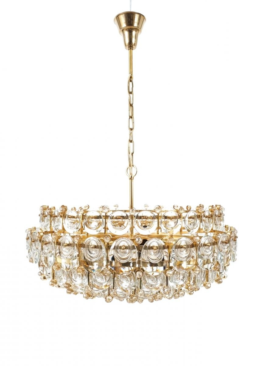 Large Gilt Brass & Glass Chandelier From Palwa, 1960S For Sale At Pamono In Most Recently Released Large Glass Chandelier (View 10 of 20)