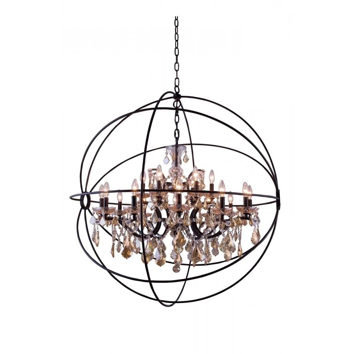 Large Globe Chandelier In Well Liked Lighting: Large Bronze Iron Crystal Orb Chandelier With 15 Light For (View 8 of 20)