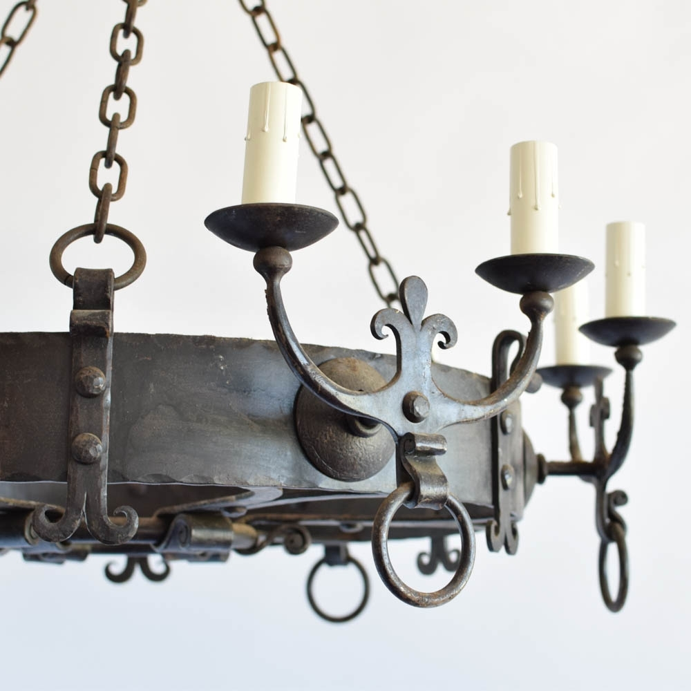 Large Iron Chandelier Intended For Well Known Large Iron Chandelier W/fleur De Lis Arms – The Big Chandelier (View 8 of 20)