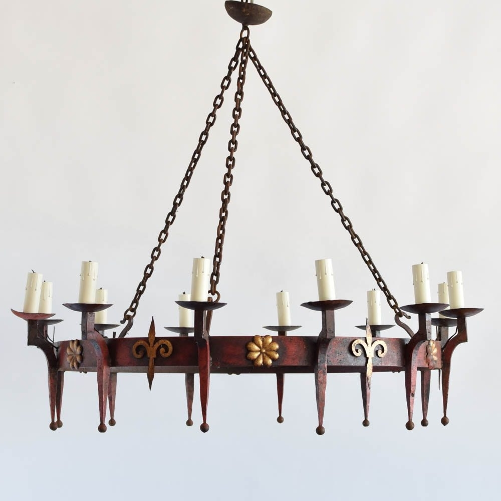 Large Iron Chandelier With Famous Large Iron Ring Chandelier W/fleur De Lis – The Big Chandelier (View 8 of 20)