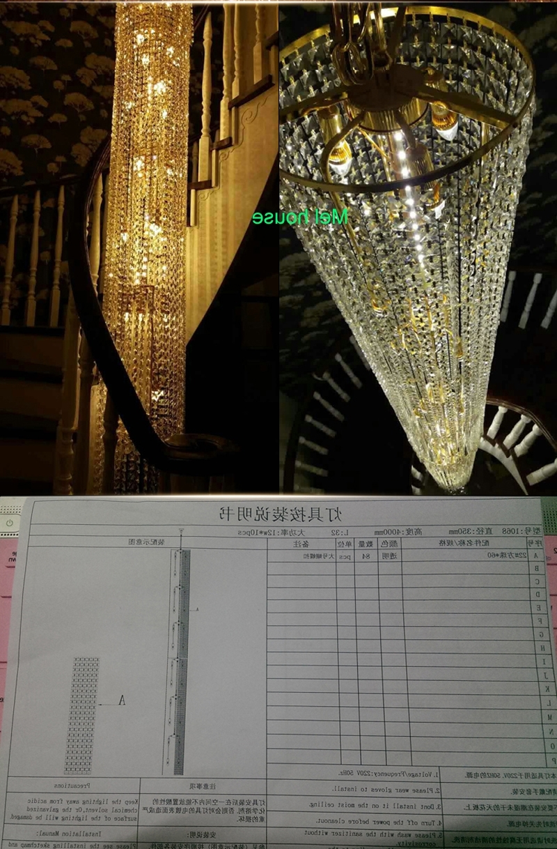 Large Long Crystal Chandelier Light Lampada Led Fixtures Hotel Intended For Favorite Long Chandelier Lighting (View 12 of 20)