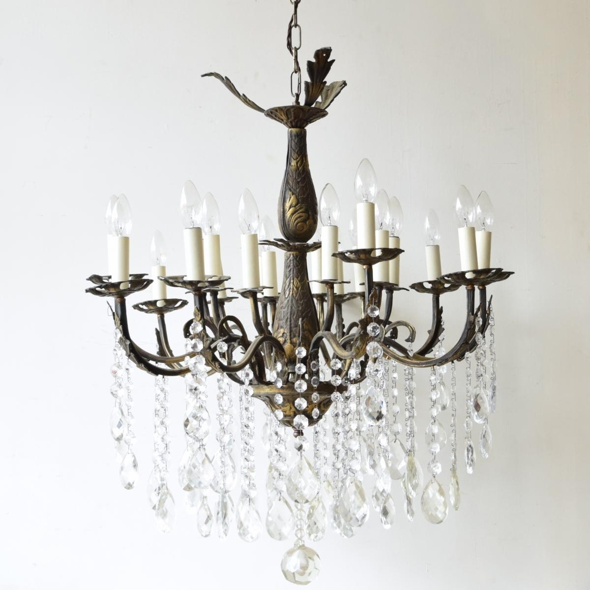 Large Vintage French 16 Light Brass Chandelier For Sale At Pamono For Most Up To Date Large Brass Chandelier (View 7 of 20)