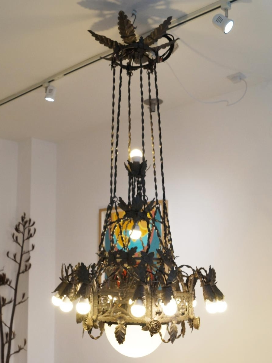 Large Vintage Gothic Revival Wrought Iron Chandelier For Sale At Pamono Inside Most Recently Released Large Iron Chandelier (View 7 of 20)
