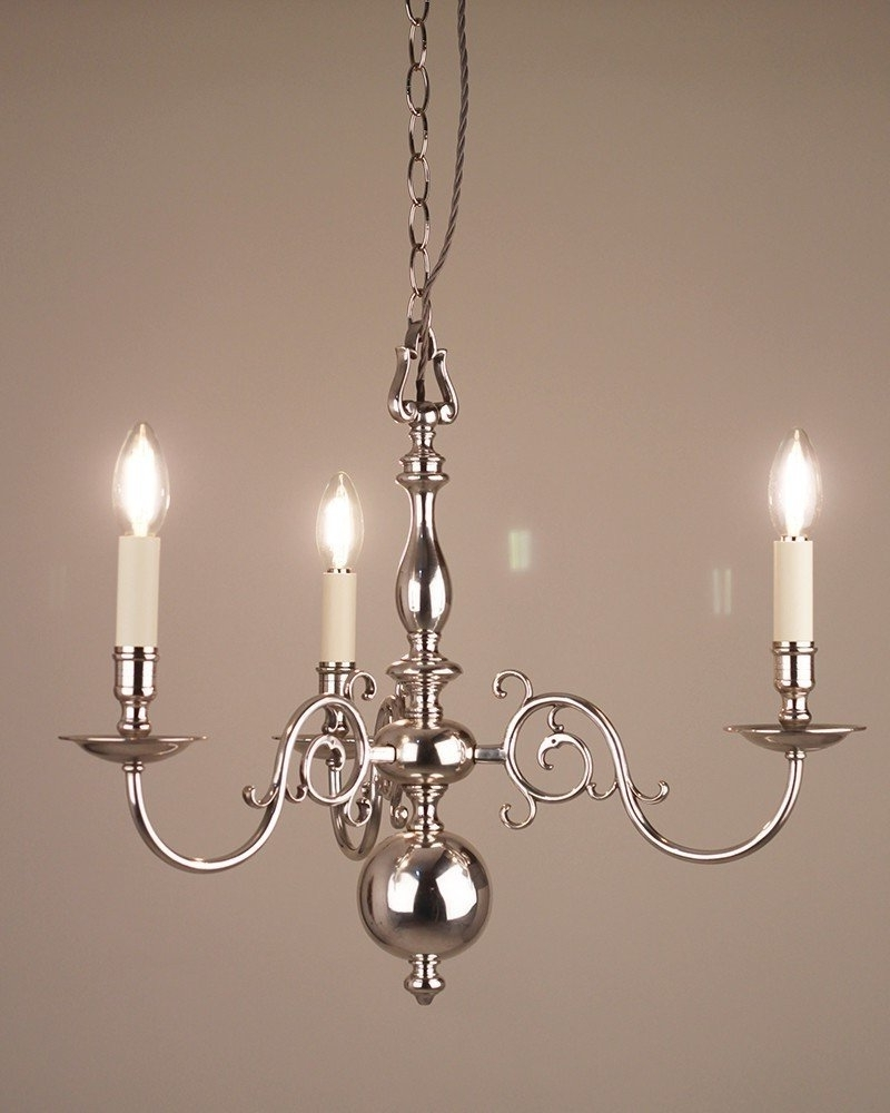 Latest 3 Branch Silver Plate Dutch Style Antique Chandelier, Antique Lighting Regarding Edwardian Chandeliers (View 11 of 20)