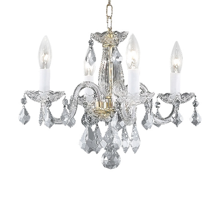 Latest 4 Light Crystal Chandeliers In Shop Elegant Lighting Rococo 15 In 4 Light Gold Crystal Crystal (View 8 of 20)