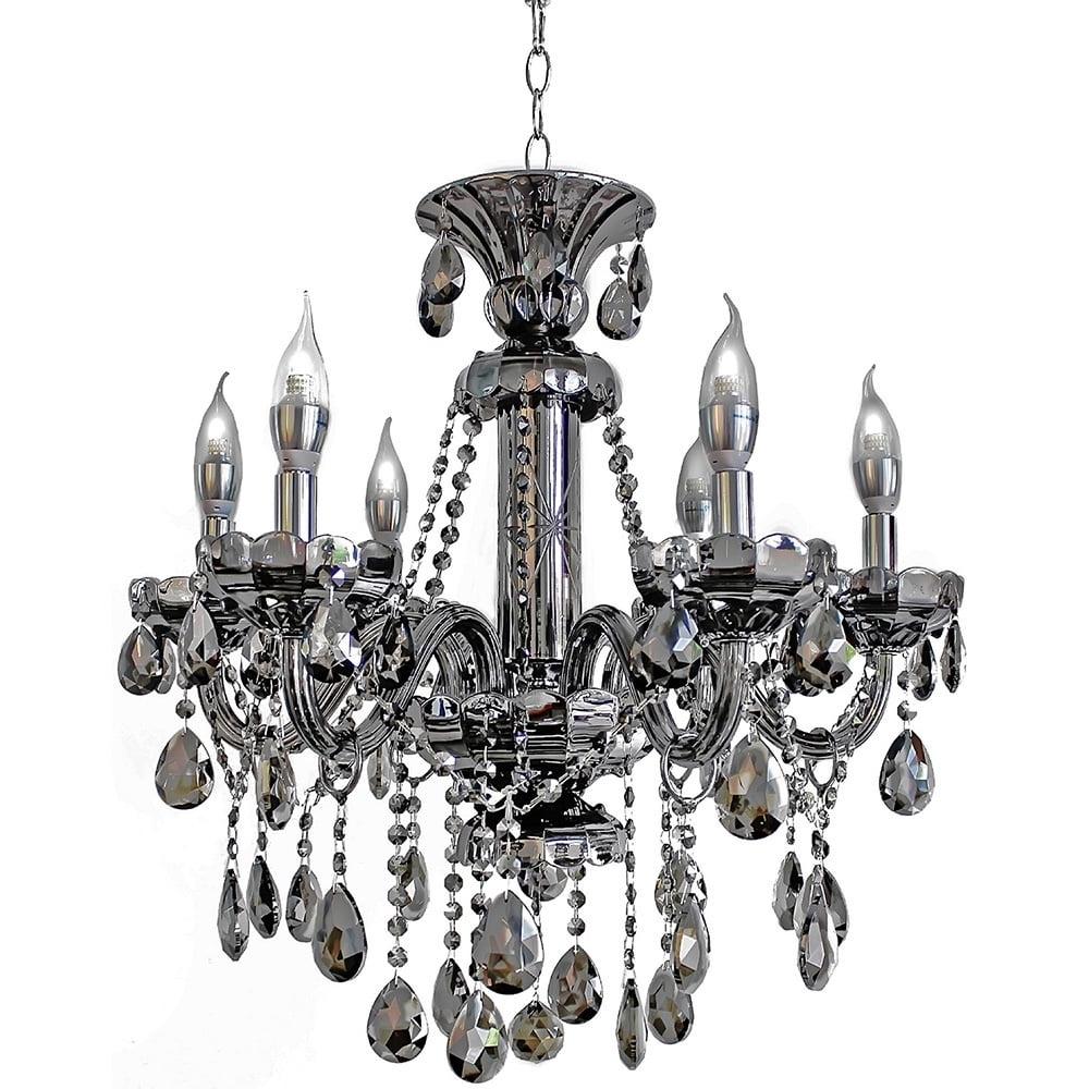 Latest 6 Light Mirrored Silver Crystal Candelabra Chandelier – Free Within Mirrored Chandelier (View 9 of 20)