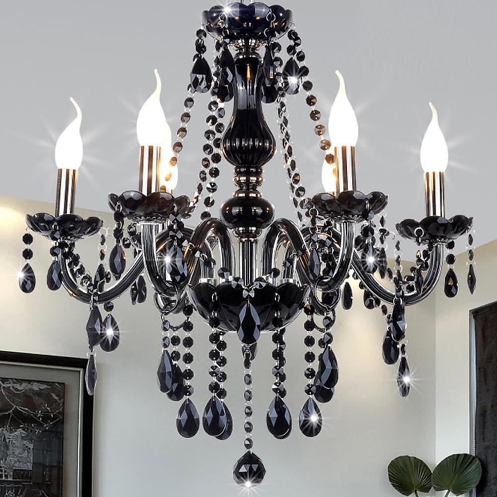 Latest Black Modern Crystal Chandelier E14 Candle Holder Novelty Classic With Black Glass Chandeliers (View 11 of 20)