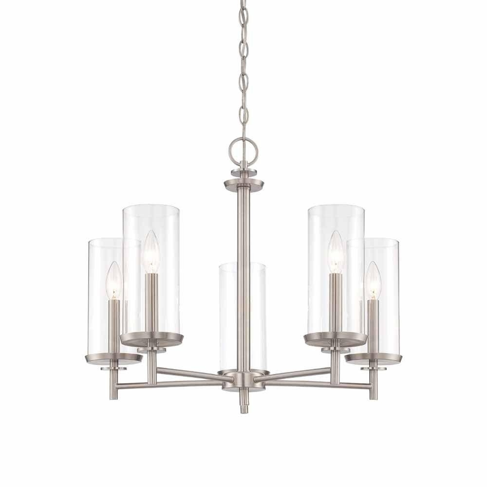 Latest Clear Glass Chandeliers Within Hampton Bay 5 Light Brushed Nickel Chandelier With Clear Glass (View 11 of 20)