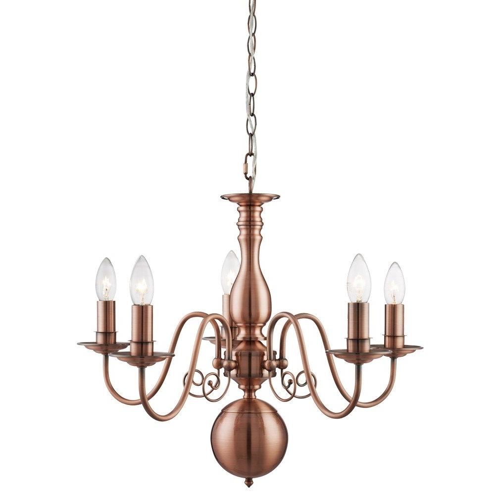 Latest Copper Chandelier Intended For Natalie 5 Light Ceiling Light Copper (View 12 of 20)
