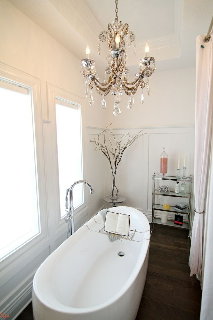 Latest Modern Bathroom Chandelier Lighting Pertaining To Fabulous Small Bathroom Chandelier Crystal Bathroom Small Crystal (View 6 of 20)