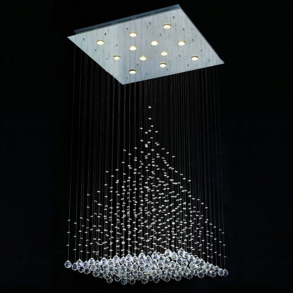 Latest Modern Chandelier Lighting Regarding Lighting : Contemporary Modern Linear Crystal Light Chandelier (View 20 of 20)