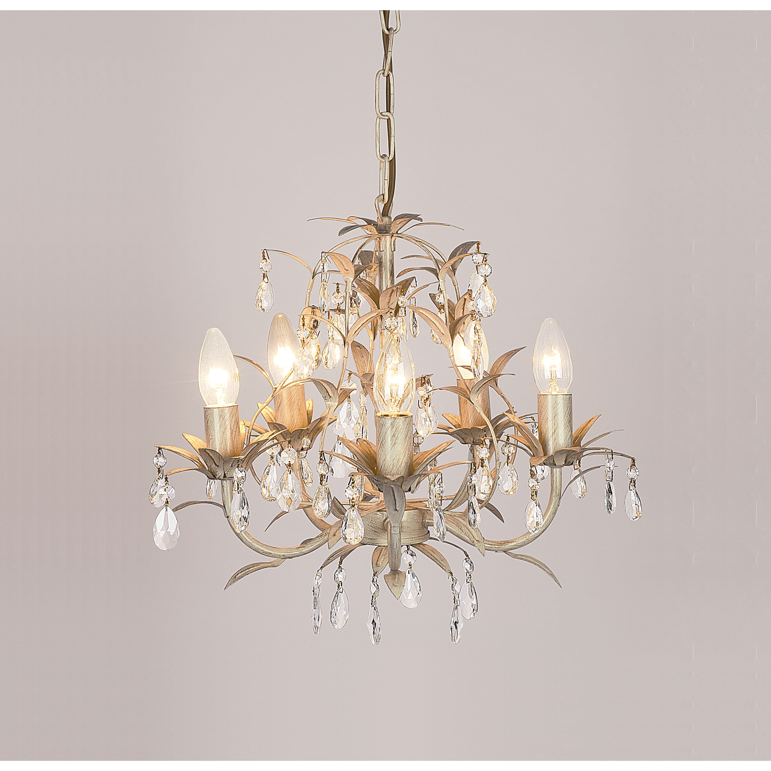 Lavenham Cream And Clear Glass 5 Light Chandelier (View 9 of 20)