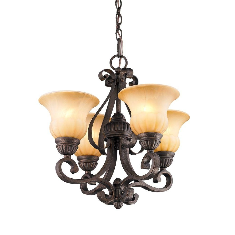 Leather Chandeliers Regarding Well Known White – Plug In – Chandeliers – Lighting – The Home Depot (View 10 of 20)