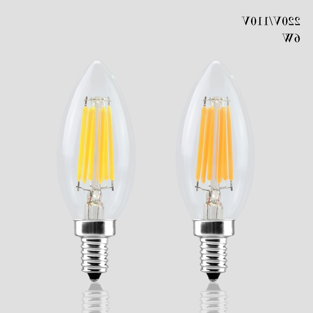 Led Candle Chandeliers Intended For Most Current 110v 220v Dimmable Led Bulb Filament E14 E12 Led Candle Light Cob (View 15 of 20)