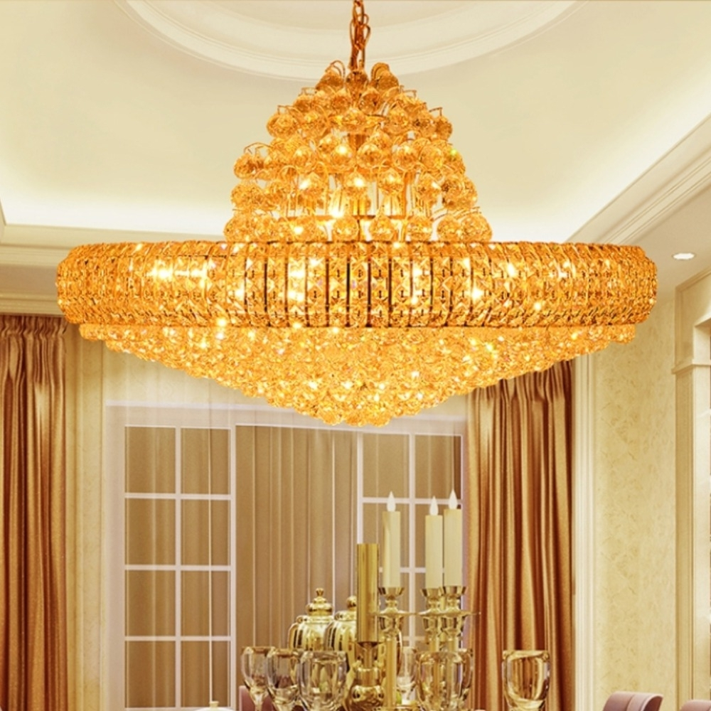 Led Golden Crystal Chandeliers Big Round Golden Chandeliers Lighting Pertaining To Popular Huge Crystal Chandeliers (View 13 of 20)