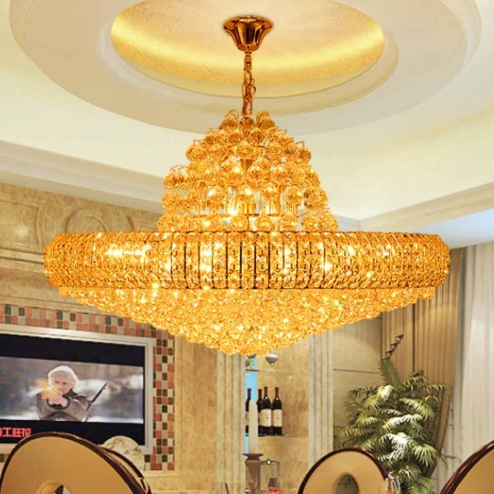 Led Modern Golden K9 Crystal Chandelier Big Round Gold Crystal In Widely Used Big Chandeliers (View 13 of 20)
