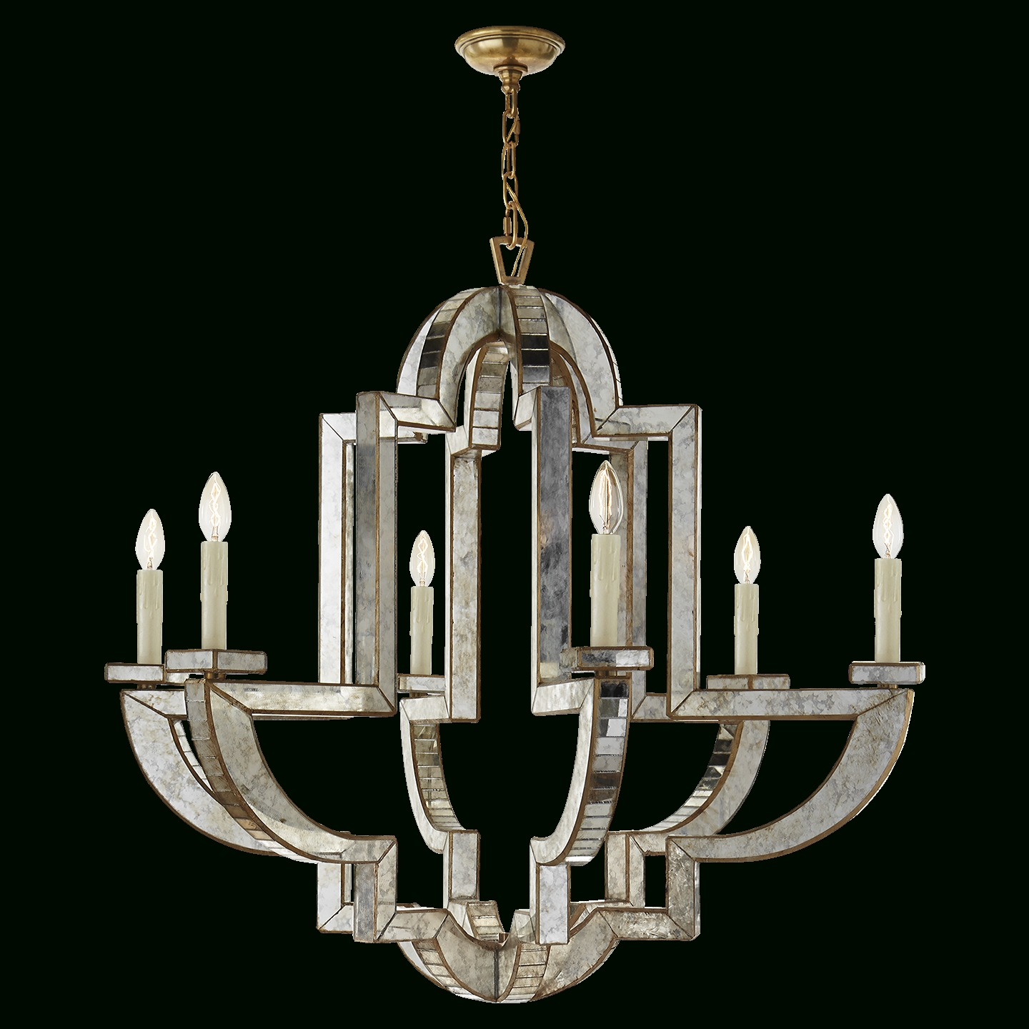Lido Large Chandelier In Antique Mirror And Hand Rubbed Antique In Well Known Antique Mirror Chandelier (View 8 of 20)