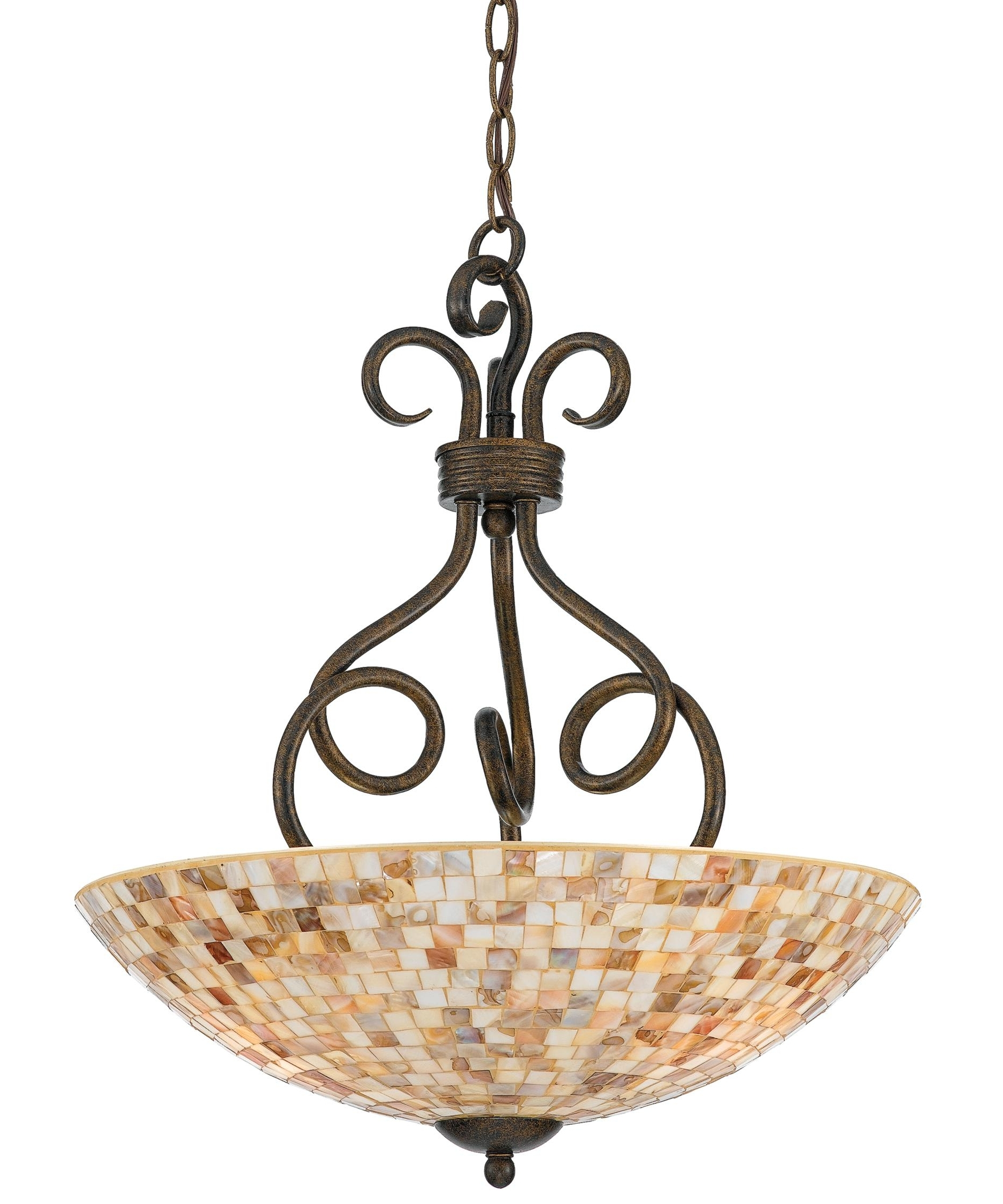 Light : Awesome Quoizel Monterey Mosaic Inch Large Pendant For Chic With Regard To Well Known Inverted Pendant Chandeliers (View 12 of 20)