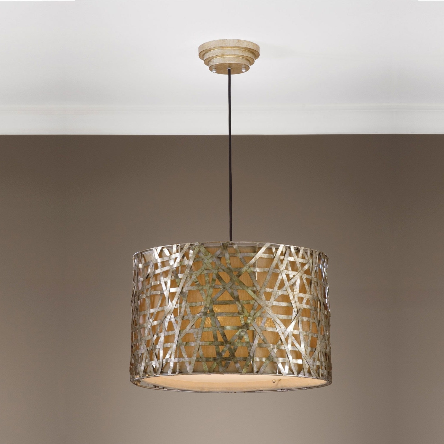 Light Fixture : Large Glass Pendant Lighting Semi Flush Mount Inside 2019 Metal Drum Chandeliers (View 8 of 20)