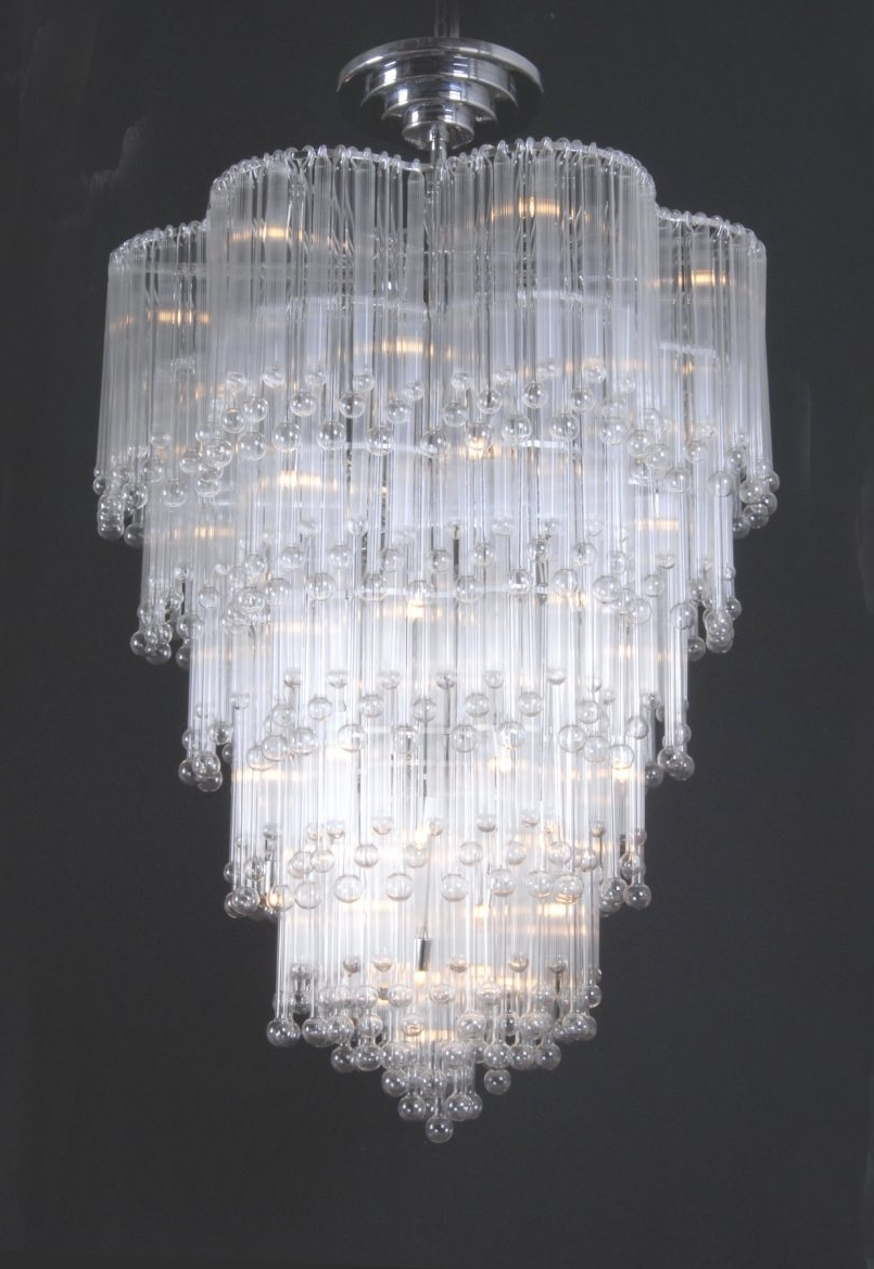 Light : Mesmerizing White Crystal Chandelier Stainless Steel With Pertaining To Popular Large Glass Chandelier (View 15 of 20)