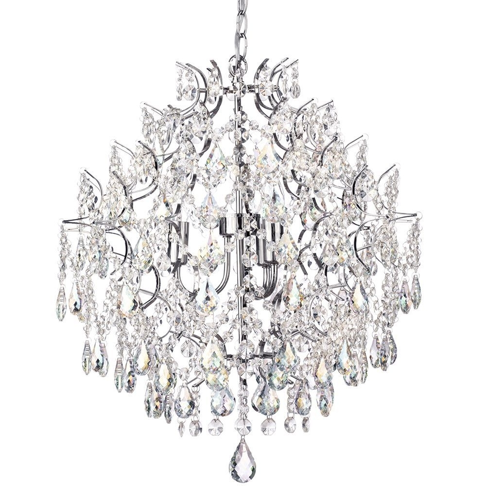 Lighting: Caen 3 Light Crystal Chandelier Chrome From Litecraft For Current Chrome Crystal Chandelier (View 19 of 20)