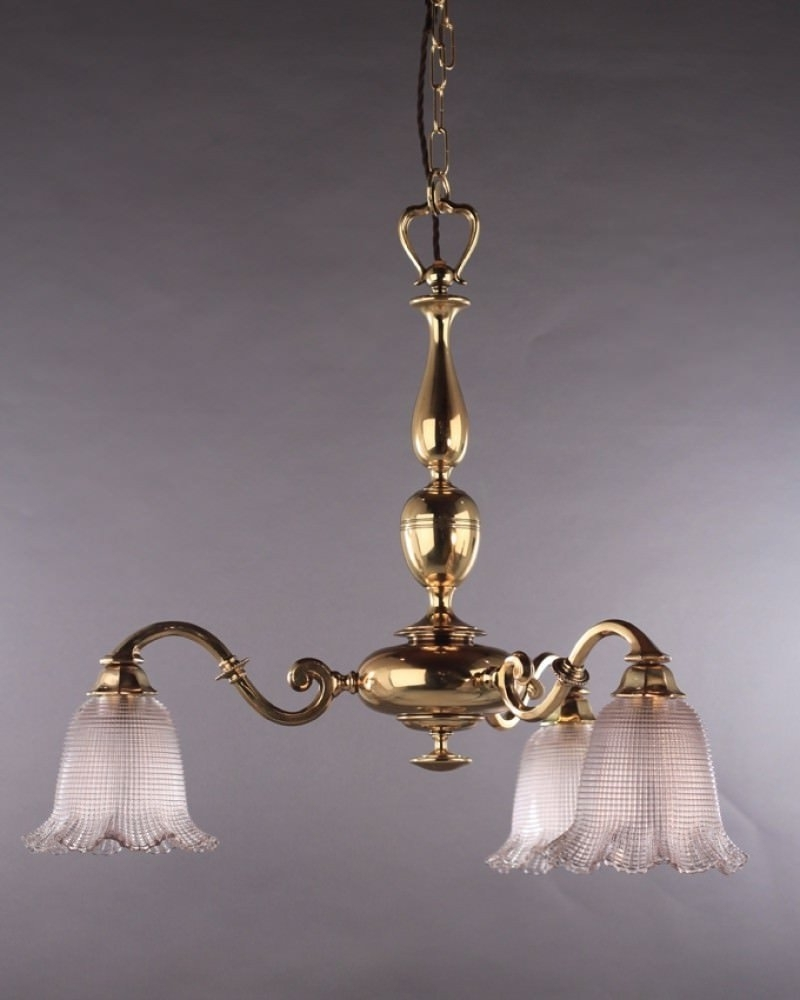 Lighting, Cast Brass Edwardian Chandelier With Holophane Shades Intended For Famous Edwardian Chandelier (View 15 of 20)