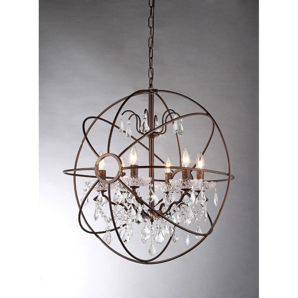 Lighting: Oil Rubbed Bronze 6 Light Crystal Globe Chandelier For With Regard To Most Recently Released Crystal Globe Chandelier (View 15 of 20)