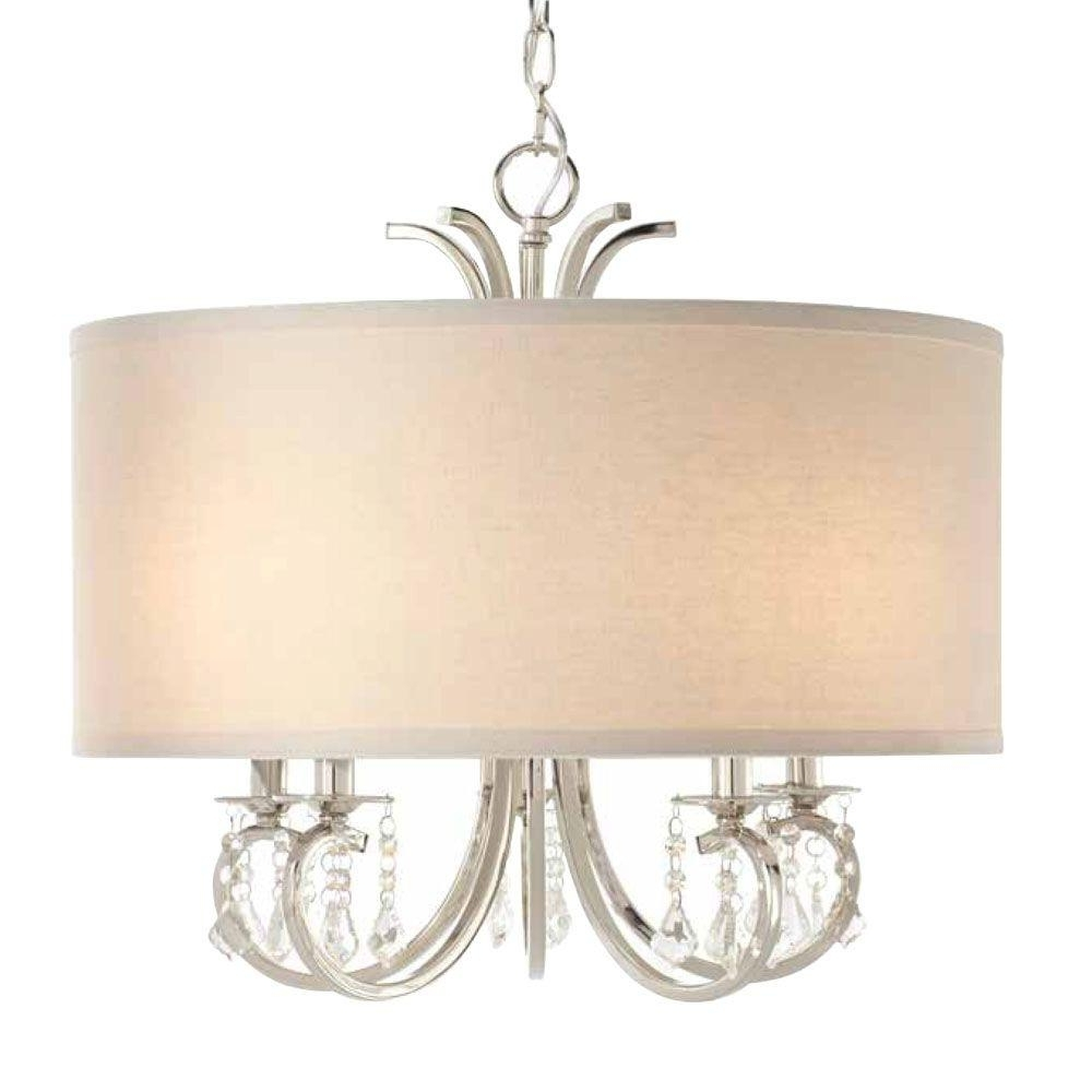 Linen Chandeliers Pertaining To Popular Home Decorators Collection 5 Light Polished Nickel Chandelier With (View 8 of 20)