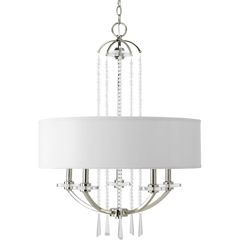Linen Chandeliers Throughout Popular Progress Lighting Nisse Collection 5 Light Polished Nickel (View 9 of 20)