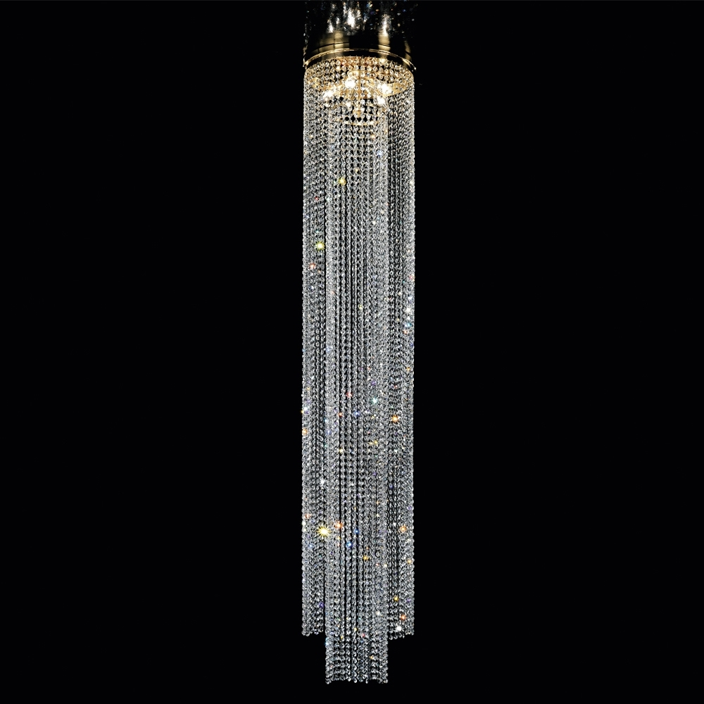 Long Crystal Chain Chandelier Style Ceiling Light (View 11 of 20)