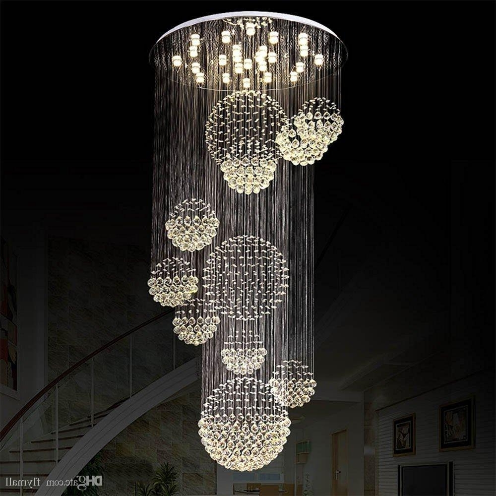 Long Modern Chandelier Inside Popular Modern Chandelier Large Crystal Light Fixture For Lobby Staircase (View 12 of 20)