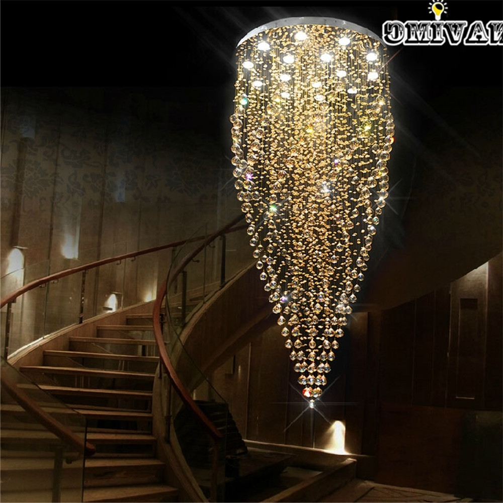 Long Modern Chandelier With Best And Newest Luxury Spiral Design Long Light Modern Crystal Chandelier Champagne (View 18 of 20)