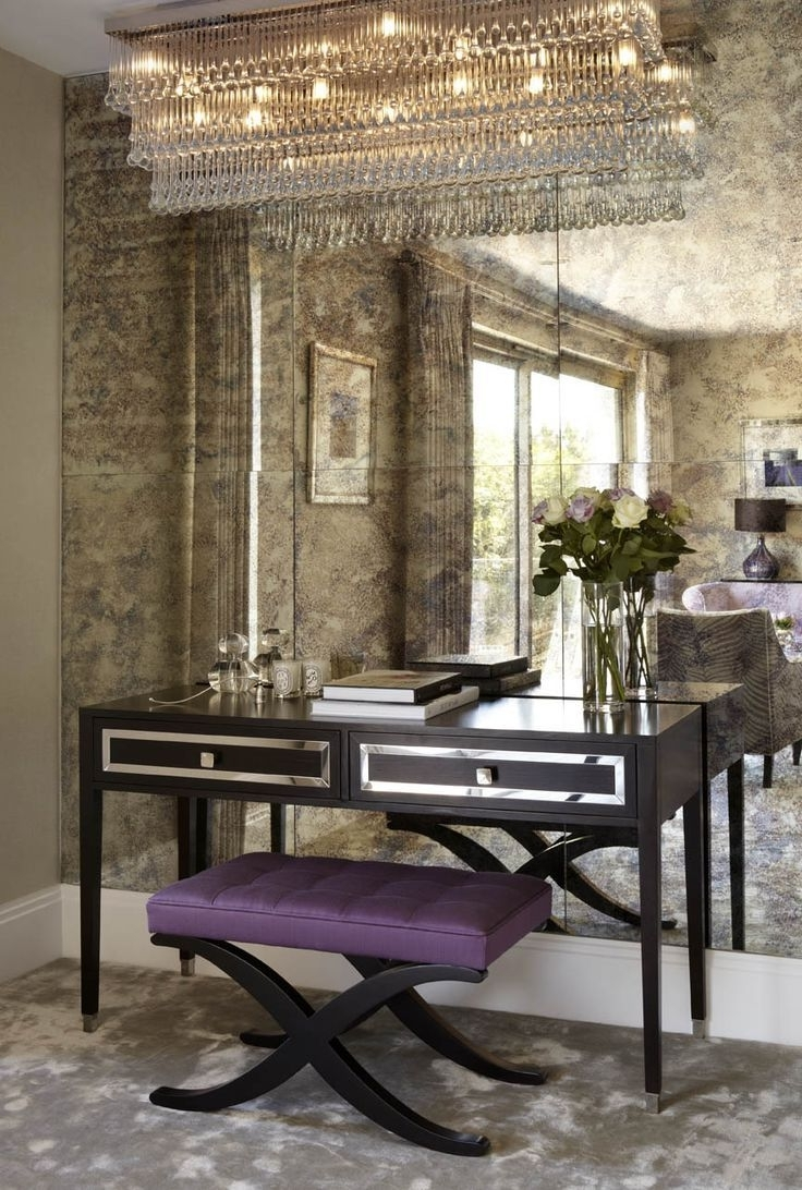 Love The Antique Mirror/ Love The Desk & The Chandelier <3 Http Pertaining To Widely Used Antique Mirror Chandelier (View 11 of 20)