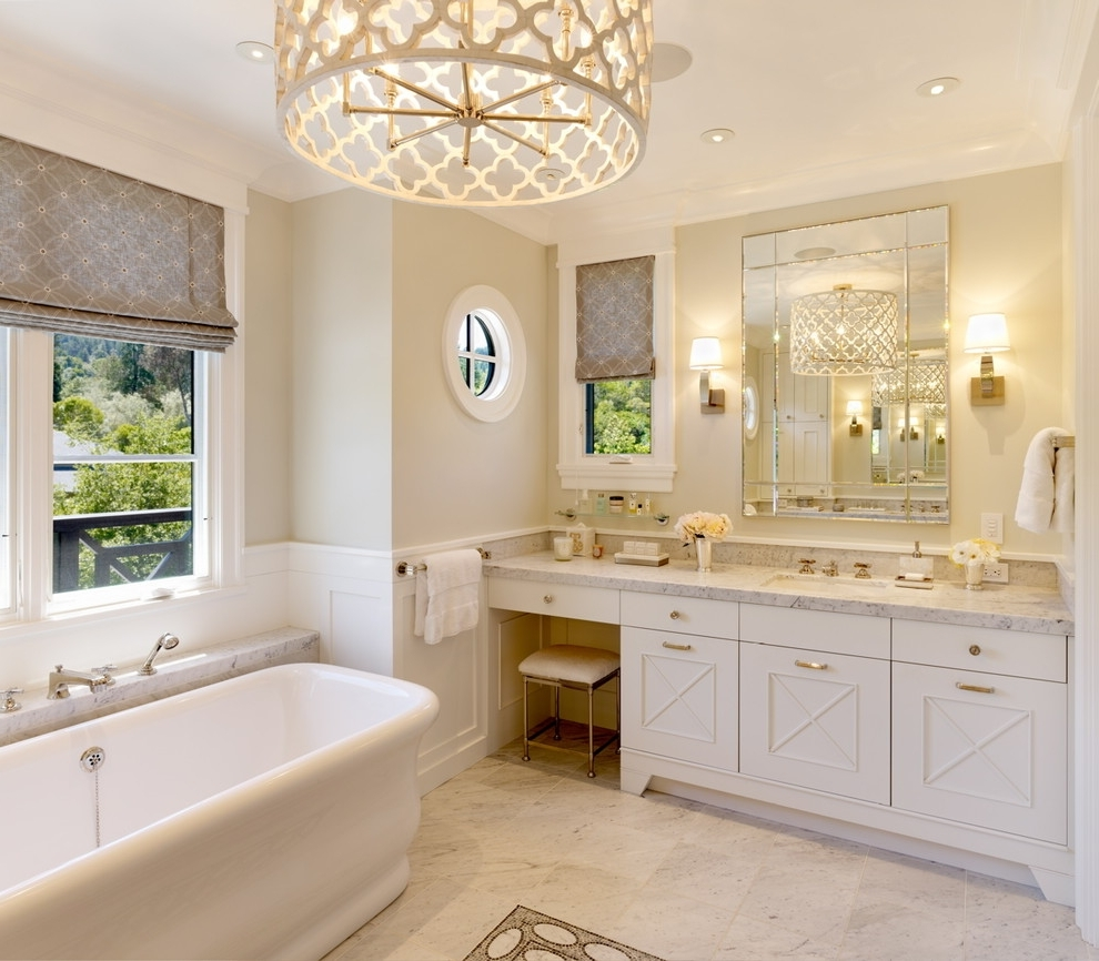 Lovely Chandelier Bathroom Lighting 25 Ways To Decorate With For Latest Chandelier Bathroom Lighting (View 11 of 20)