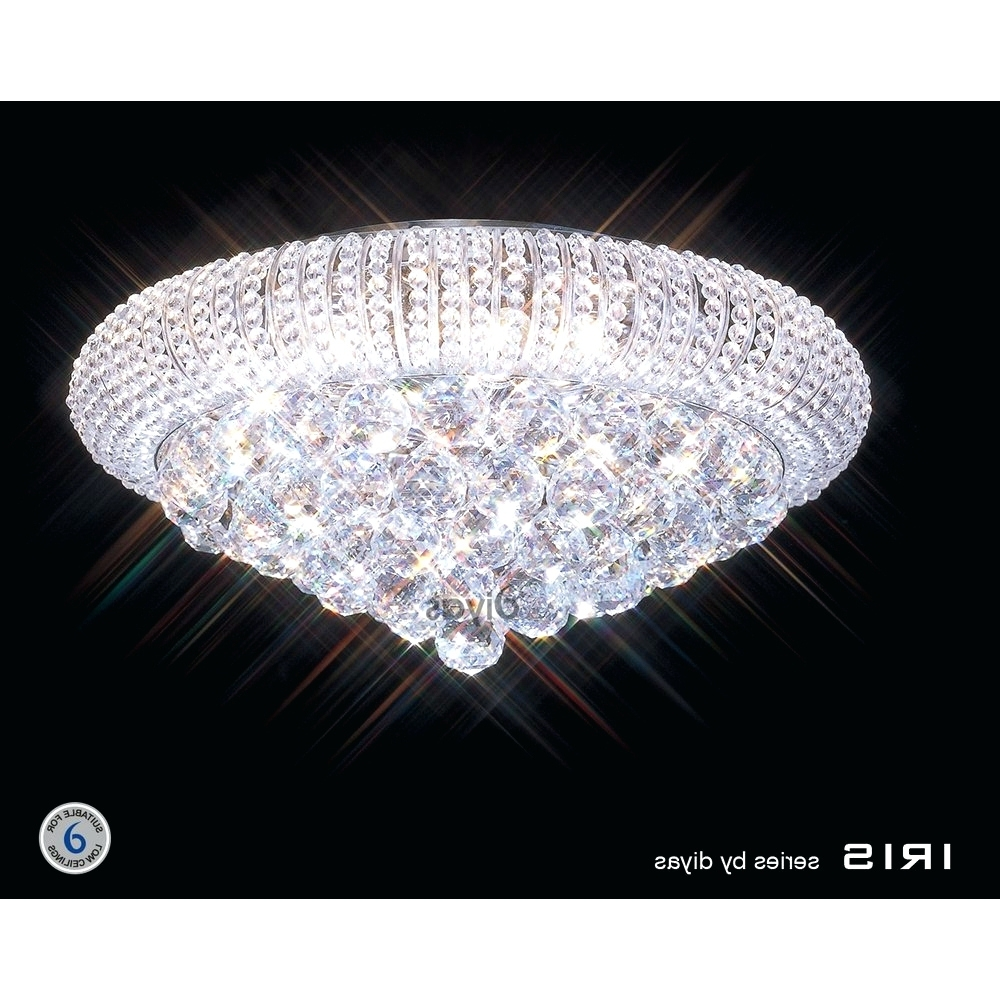 Low Ceiling Chandelier With Regard To Most Current Light : Low Ceiling Basement Lighting Ideas Tapesii Flush Chandelier (View 8 of 20)