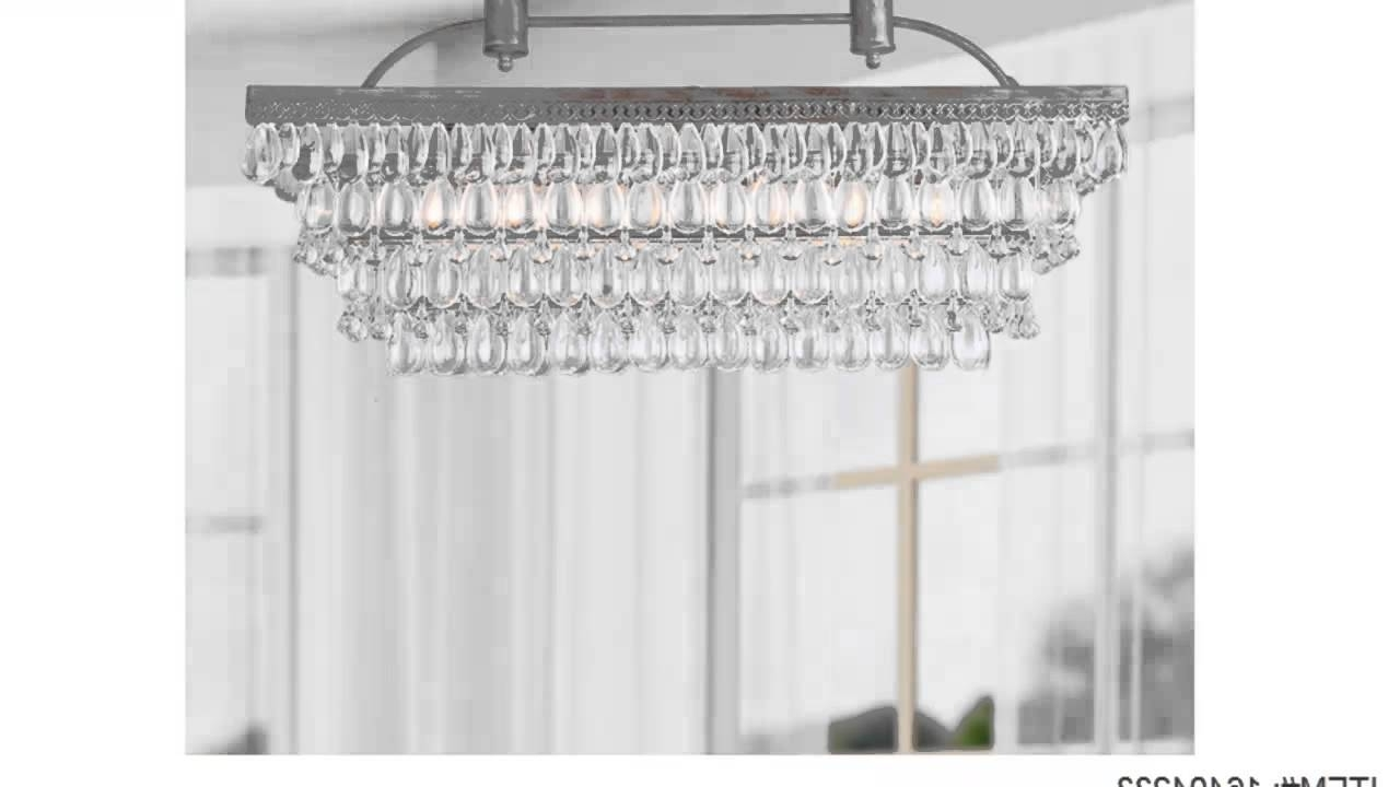 Low Price Antique Silver 6 Light Rectangular Glass Droplets With 2018 Glass Droplet Chandelier (View 6 of 20)