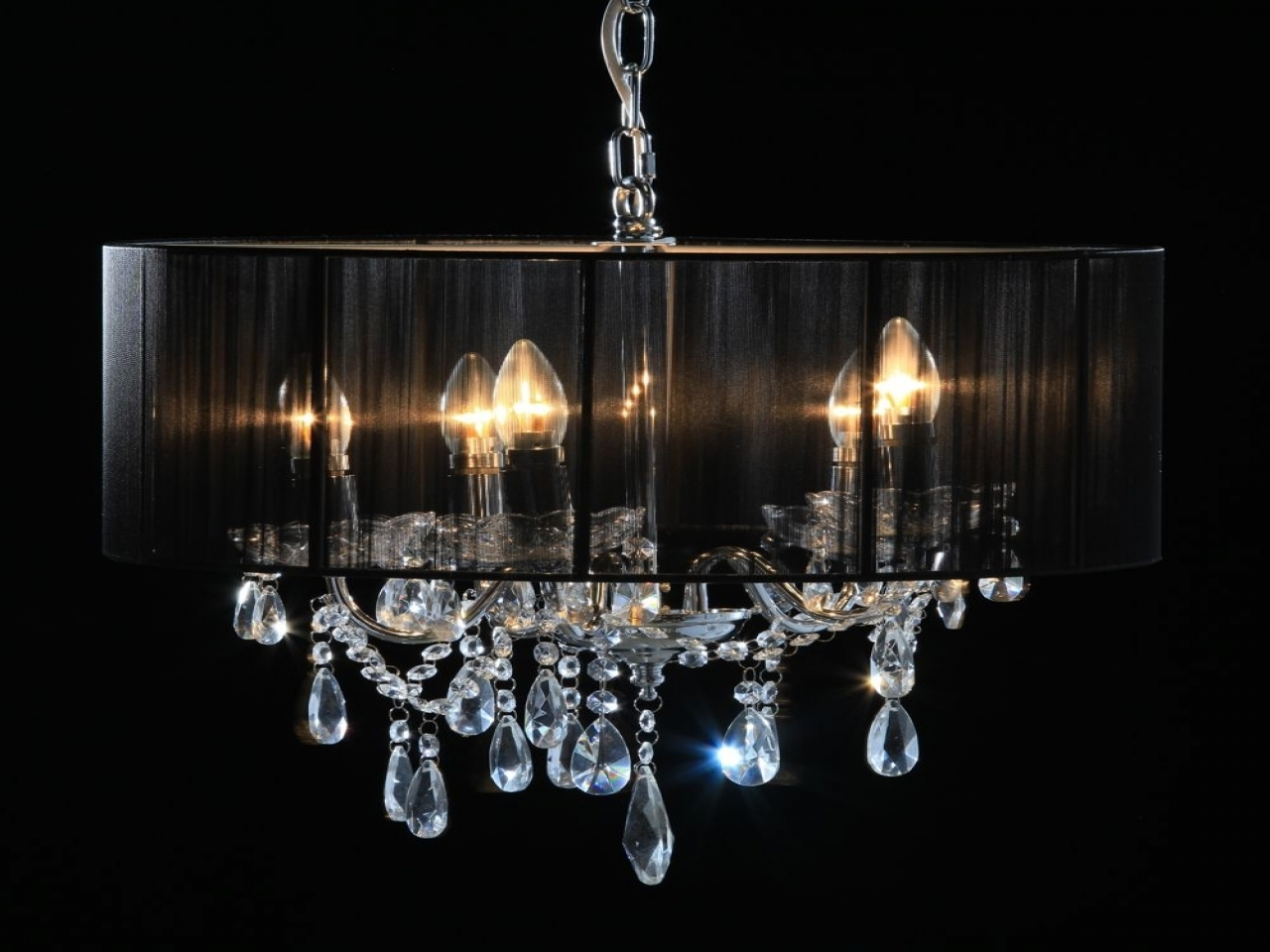 Lucinda Branch Chandelier With Most Recent Chrome 5 Branch Chandelier With Black Shade Lucinda Branch (View 7 of 20)