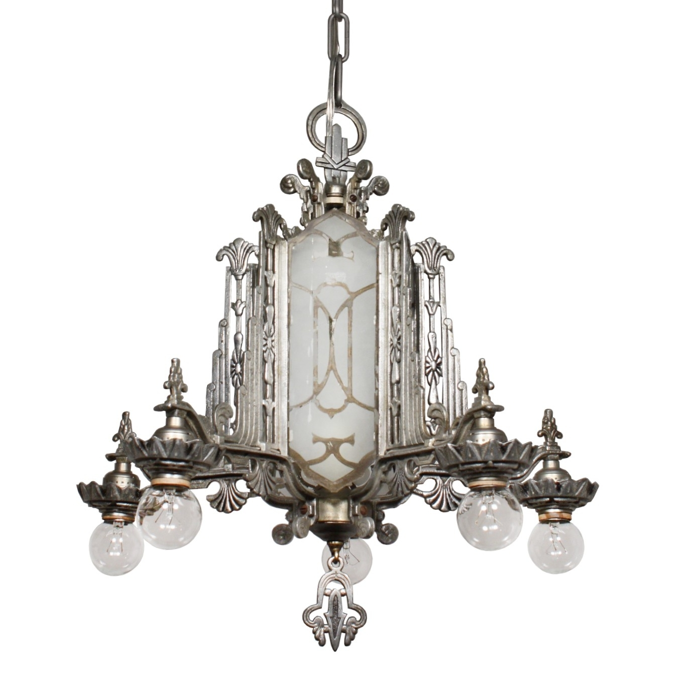 Magnificent Antique Art Deco Chandelier, Mirrored And Etched Glass Regarding Newest Mirrored Chandelier (View 7 of 20)