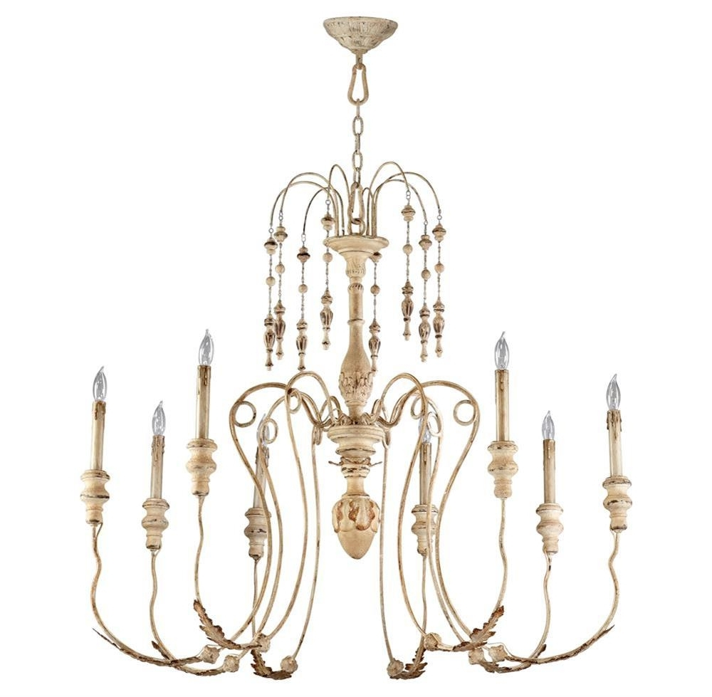 Maison French Country Antique White 8 Light Chandelier (View 16 of 20)