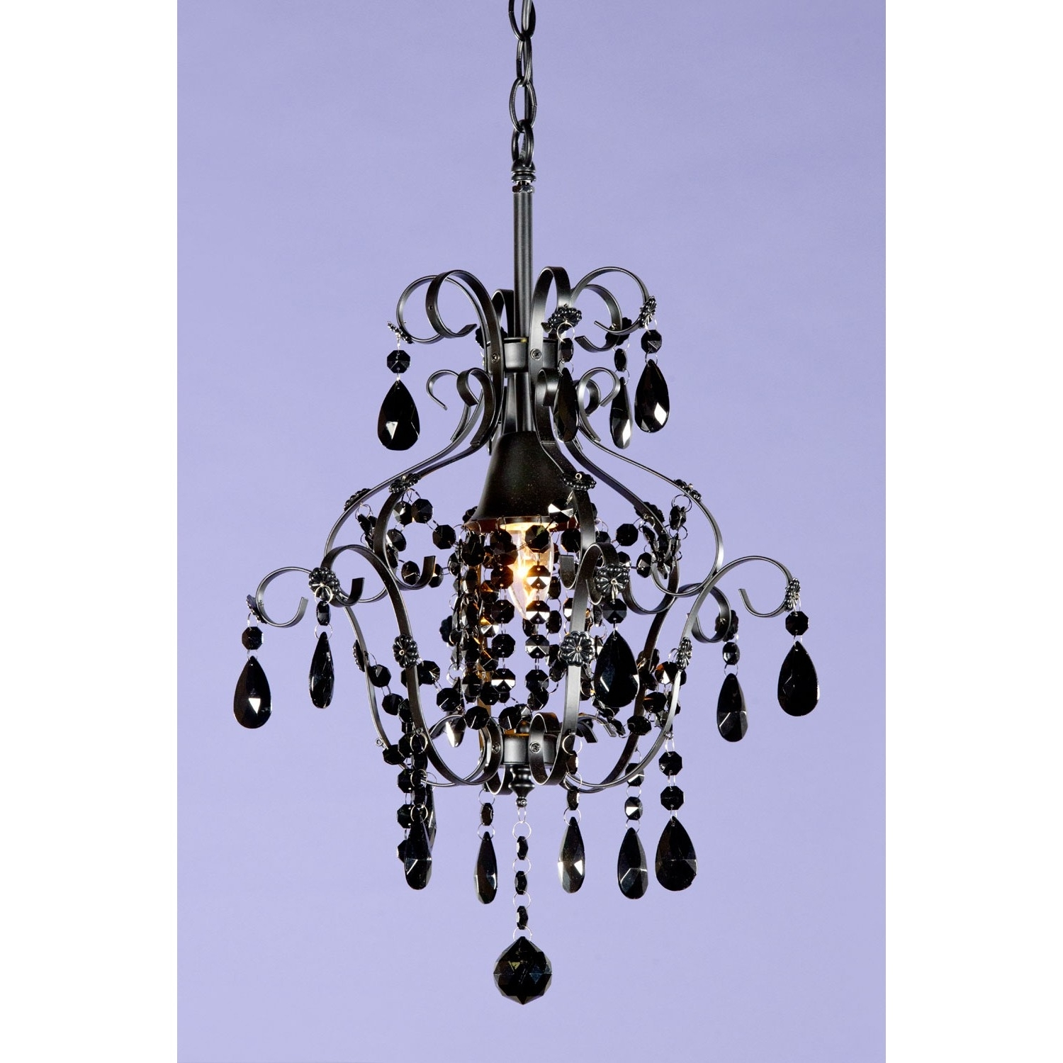 Marie Therese Black Crystal Glass Droplet Chandelier Single Ceiling For Favorite Glass Droplet Chandelier (View 14 of 20)