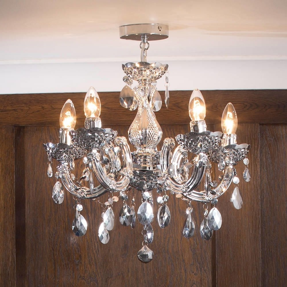 Marie Therese Chandelier 5 Light Dual Mount – Silver From Litecraft Intended For Most Up To Date Short Chandelier Lights (View 6 of 20)