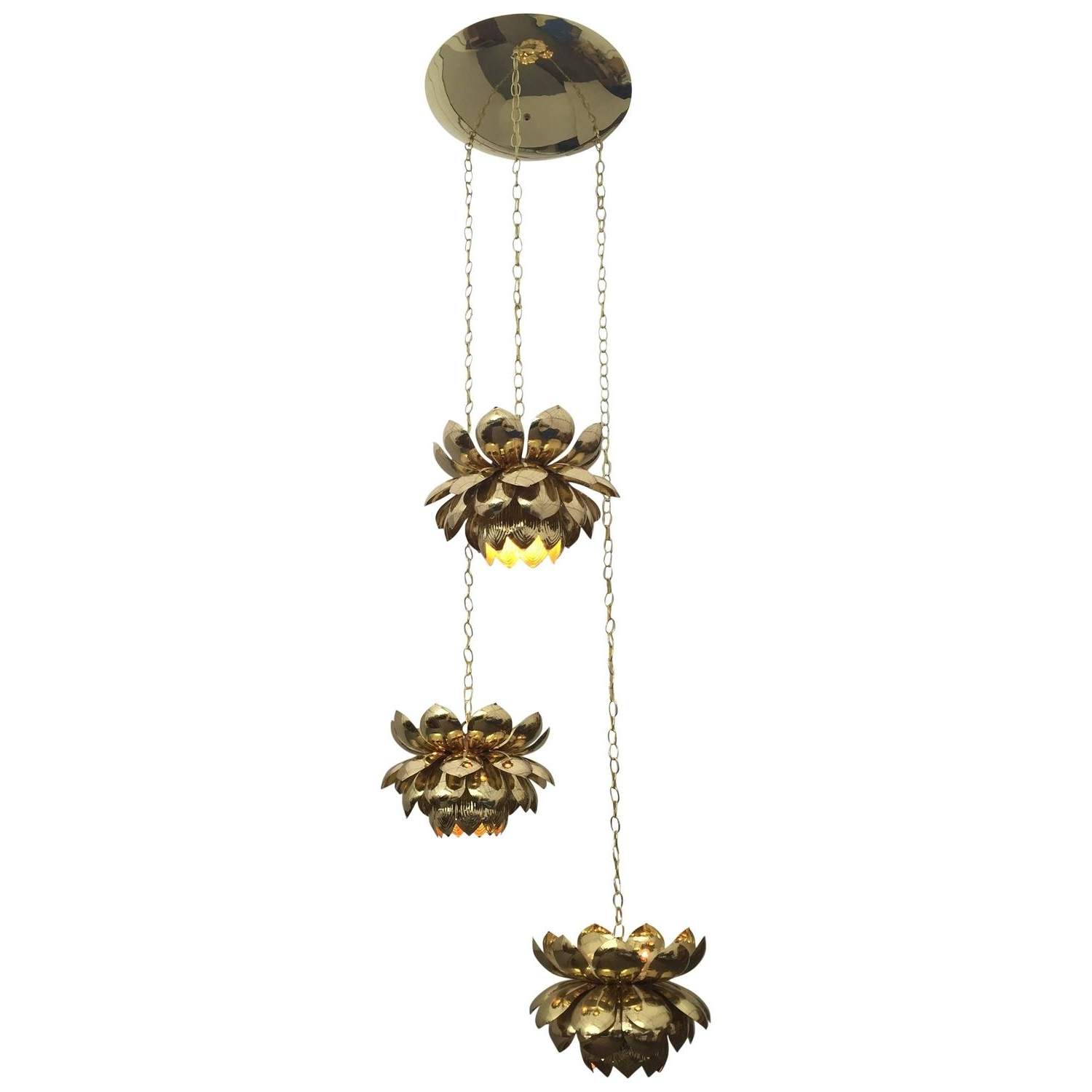 Massive Feldman Brass Chandelier With Large Lotus Pendants For Sale Inside Widely Used Large Brass Chandelier (View 15 of 20)