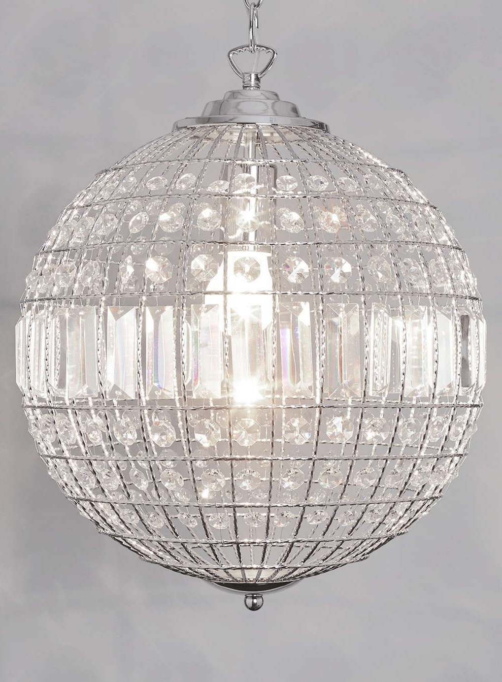 Medium Round Brass Crystal Chandelier With Banded Leaf Decoration Throughout Most Up To Date Globe Crystal Chandelier (View 16 of 20)
