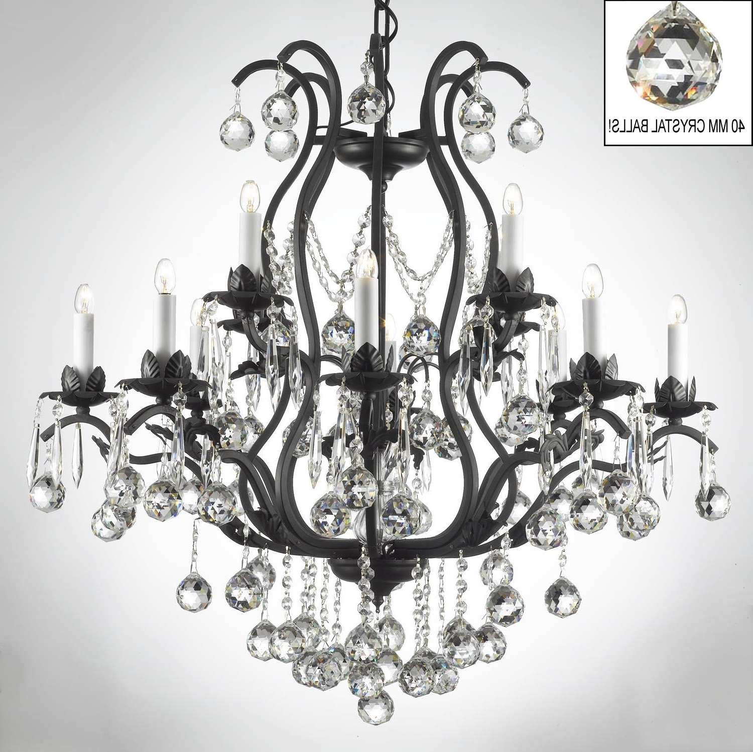 Metal Ball Candle Chandeliers For Popular Wrought Iron Candle Chandelier Chandeliers Black With Crystals Large (View 5 of 20)